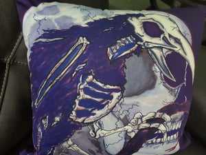 darkothica zombie raven with skull pillow spooky home decor gothic home decor skull decor raven crow decoration