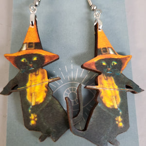 Violin Witch Cat Earrings