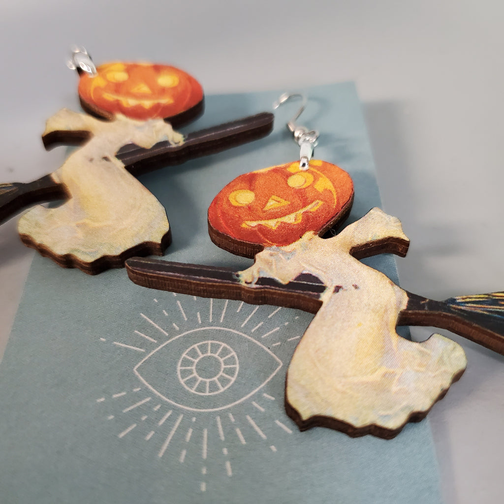 Pumpkin Witch Earrings