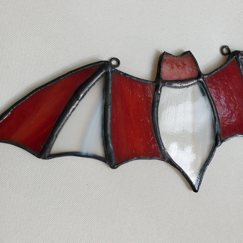 darkothica bat decor stained glass red and clear gothic decor