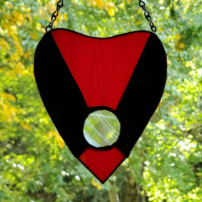 darkothica stained glass ouija planchette gothic home decor red and black