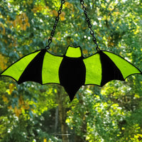 darkothica bat decor stained glass green and black gothic decor