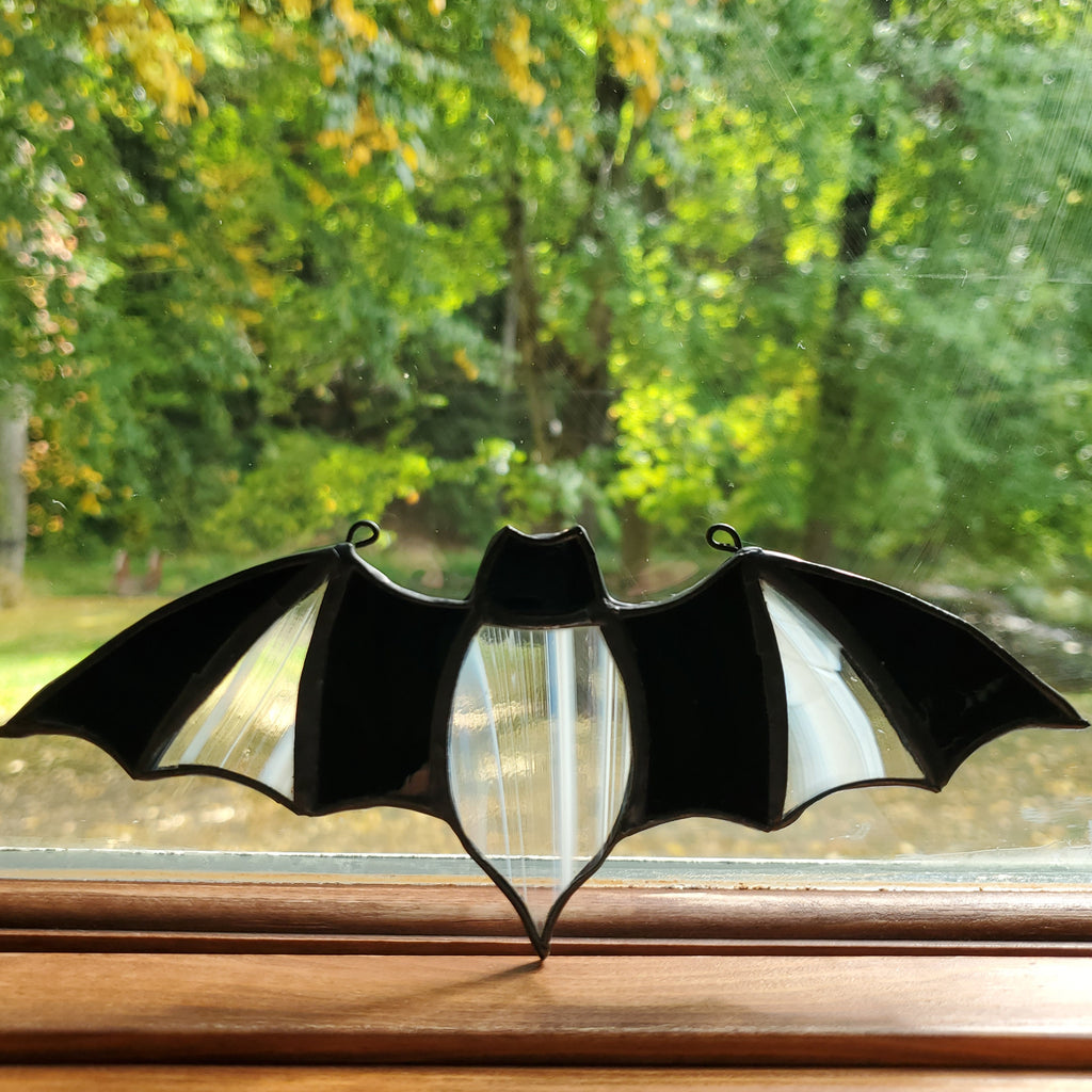 darkothica bat decor stained glass clear and black gothic decor