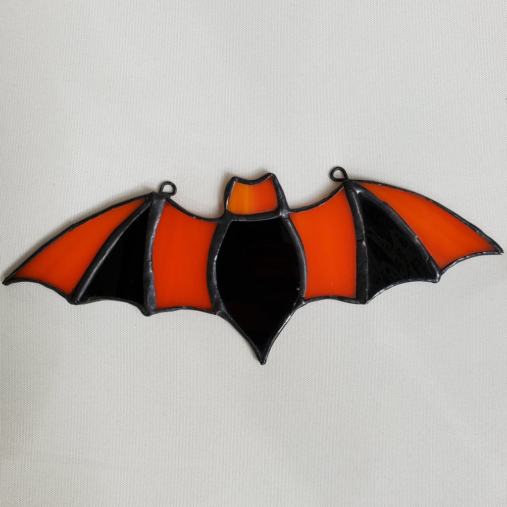 darkothica bat decor stained glass black and orange gothic decor