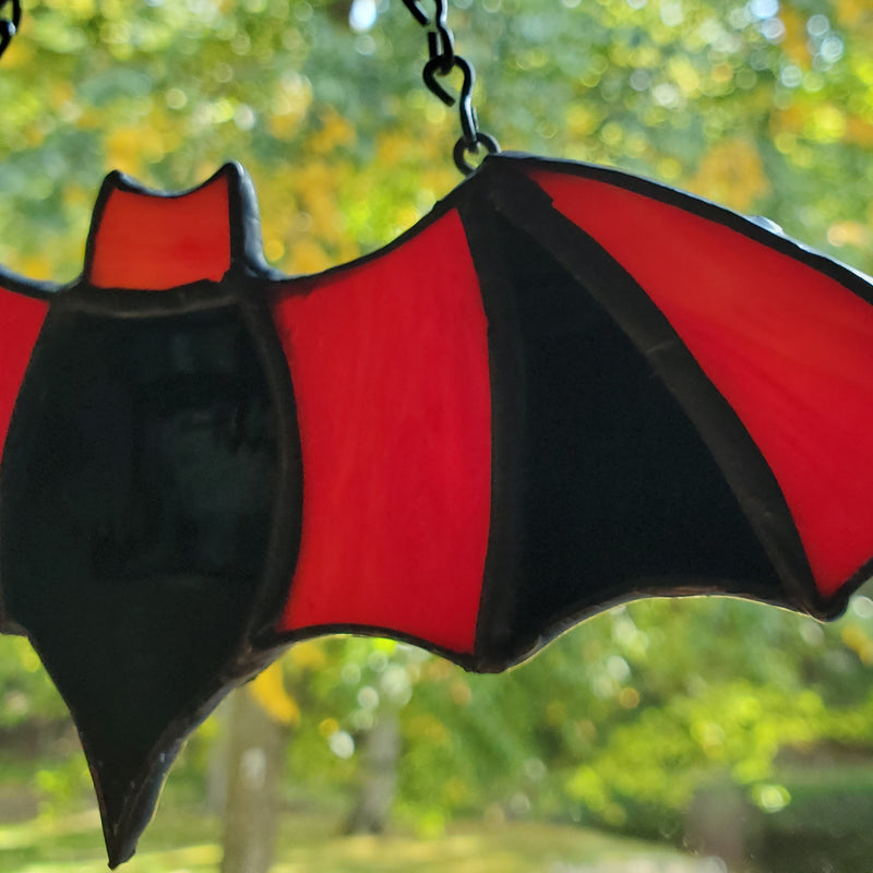 darkothica bat decor stained glass red and black gothic decor