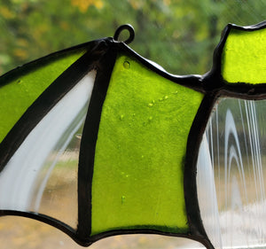 darkothica bat decor stained glass green and clear gothic decor