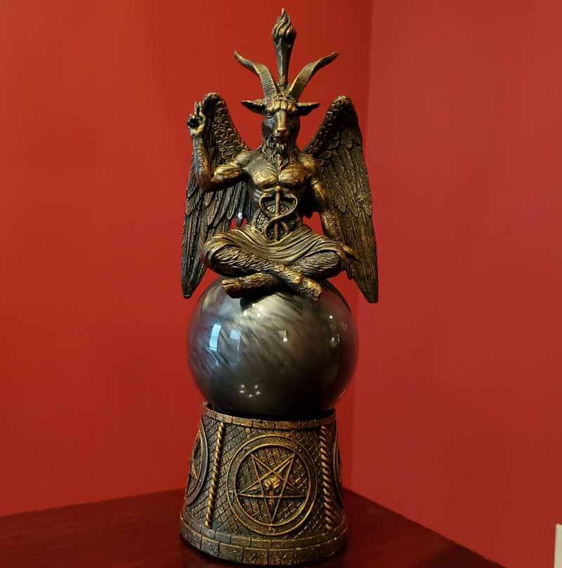 baphomet black storm ball statue darkothica gothic occult home decor