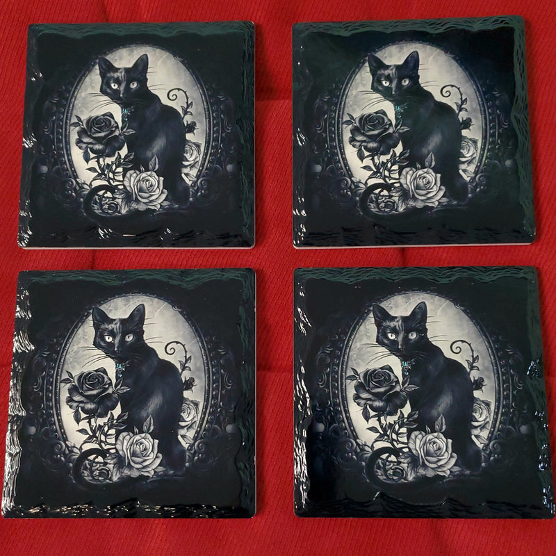 darkothica gothic cat rose coaster coasters