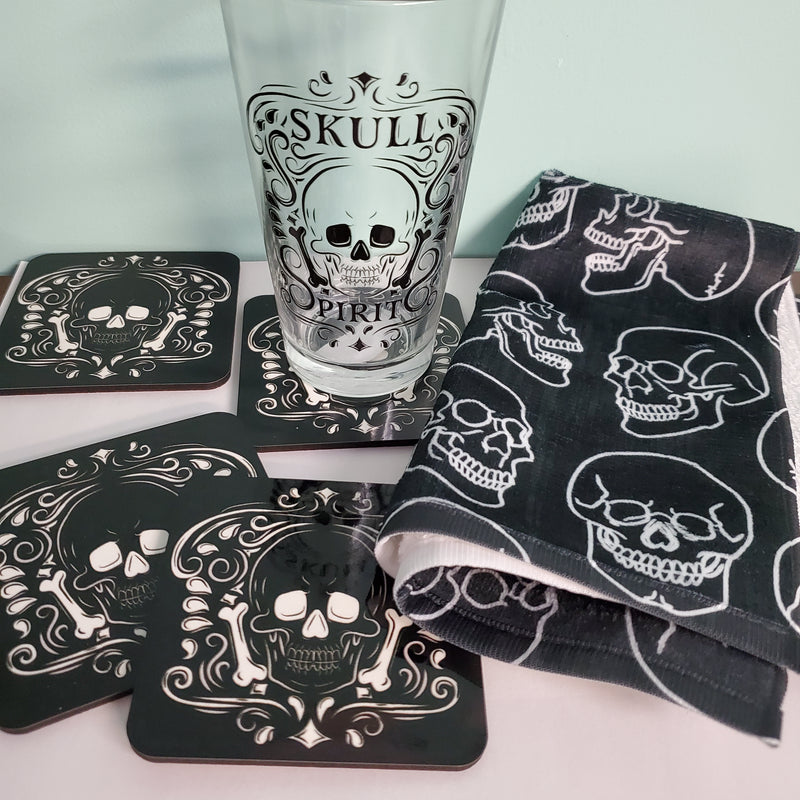 gothic home decor darkothica skull coasters black and white coasters skull spirits pint glass skull towel