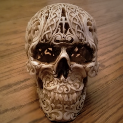 carved Celtic skull halloween decoration