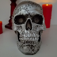 silver rivet skull metal skull home decor alternative heavy metal
