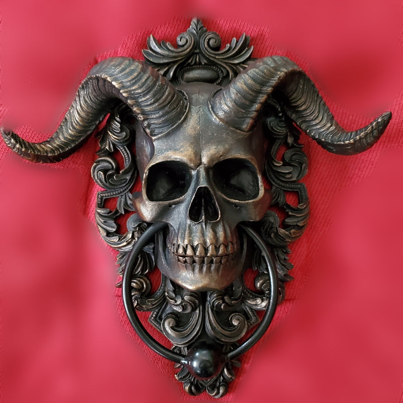 Horned Skull Door Knocker