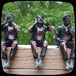 zombie see no hear no speak no evil statue figurine halloween decoration