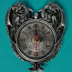 Dragon clock roman numeral clock silver grey clock dragon home decor wall decor gothic home decor dragons