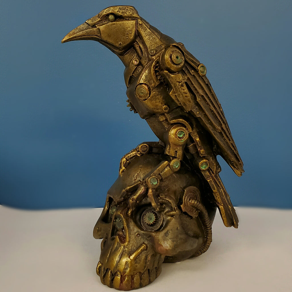 Steampunk raven on steampunk skull alternative home decor crow statue statuary gothic home decor