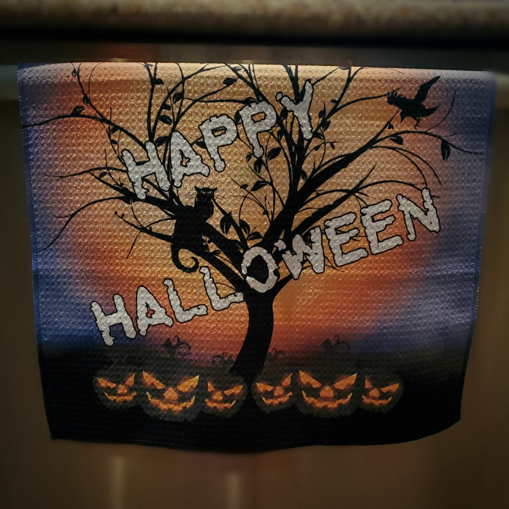 Darkothica Halloween decor happy halloween dish towel hand towel halloween decoration