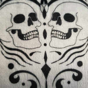 double skull black and white hand towel wash cloth kitchen towel bath towel
