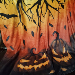 Darkothica fall fleece blanket pumpkins bats halloween autumn throw blanket