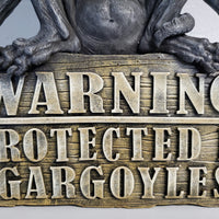 warning protected by gargoyles plaque sign darkothica gothic home decor