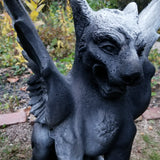 large griffin outdoor decor statue black and white gothic