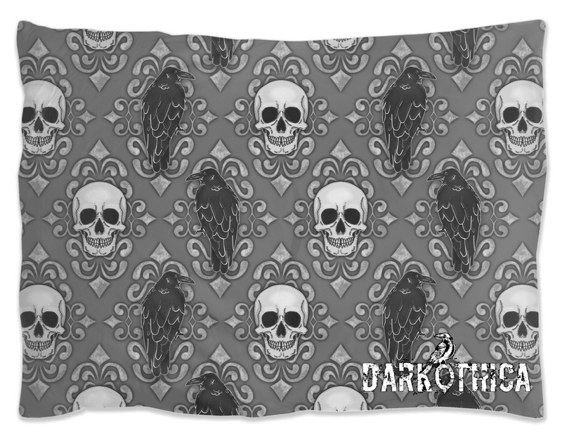 darkothica skull and crow gothic pillow sham pillow case gothic bedding