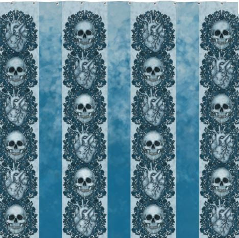 Skull & Heart Shower Curtain