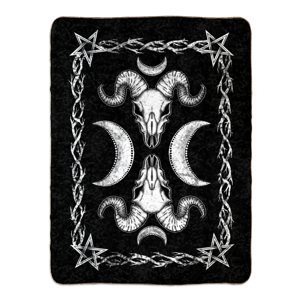 Goat Skull Fleece Sherpa Blanket