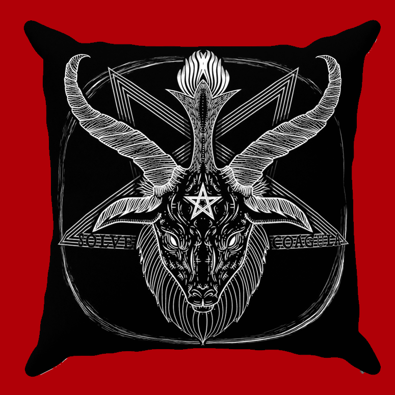Darkothica baphomet throw pillow cushion bedding gothic occult home decor pentagram