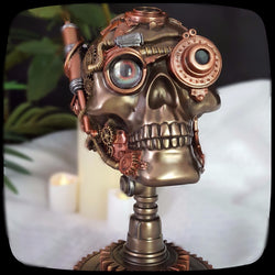 steampunk skull statue alternative home decor halloween decoration