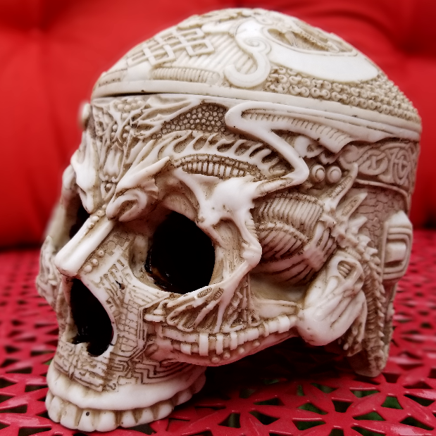 skull tibetian curio box alternative gothic home decor halloween decoration