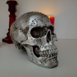 silver rivet skull metal skull home decor alternative heavy metal skull decor