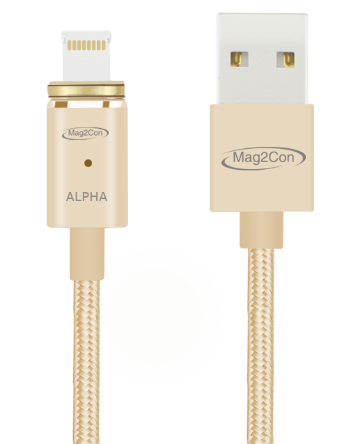 Gold Alpha/Lightning Tip Magnetic Cable for iOS/Apple