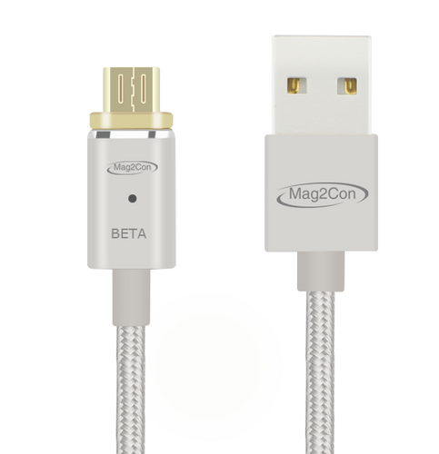 Silver Beta/Micro USB Tip Magnetic Cable for Andriod