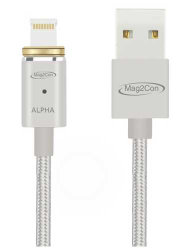 Silver Alpha/Lightning Tip Magnetic Cable for iOS/Apple