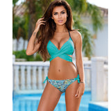 Bikini Women Swimsuit Push Up Swimwear Criss Cross Bandage Halter Bikini Set Beach Bathing Suit