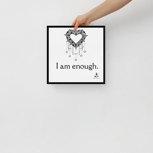 I am enough wrap around black border Canvas