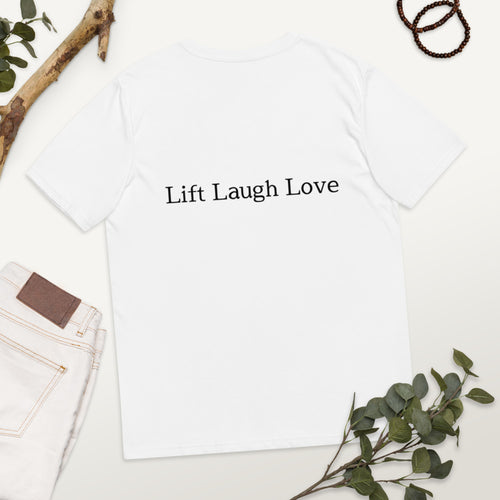Queen Maeve v2 Lift Laugh Love organic white cotton t-shirt