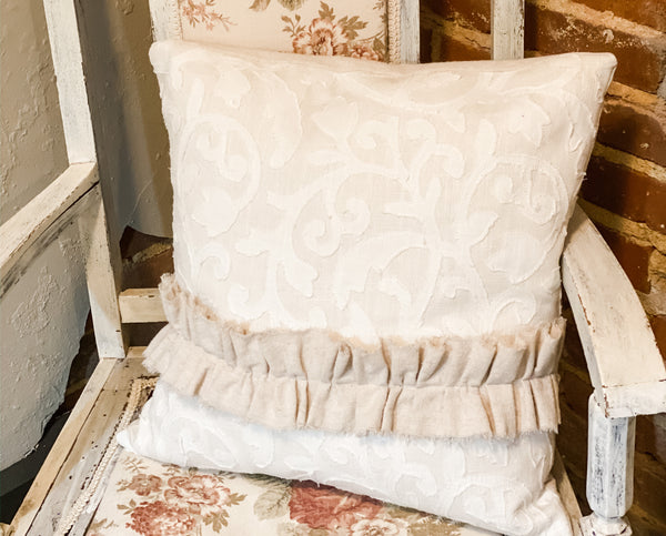 Ruffle Stripe Appliqued Pillow