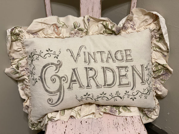 Vintage Garden Ruffled Pillow