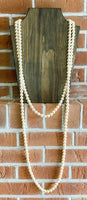 Long Layered Champagne Pearl Necklace