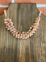 Frosted Beaded Cluster Necklace