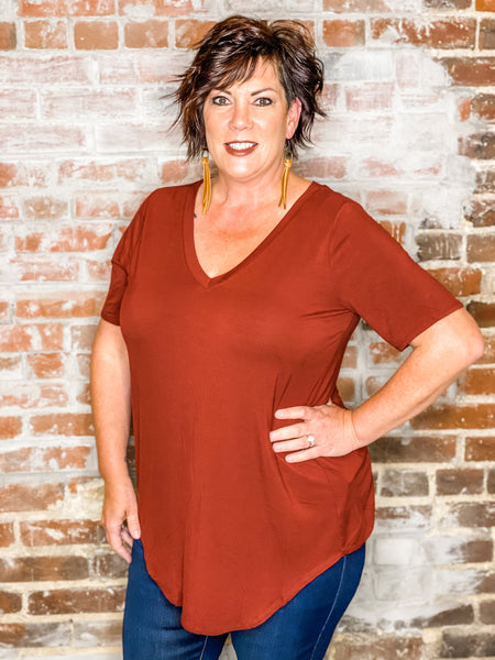 Basic V-Neck Tee-CURVY