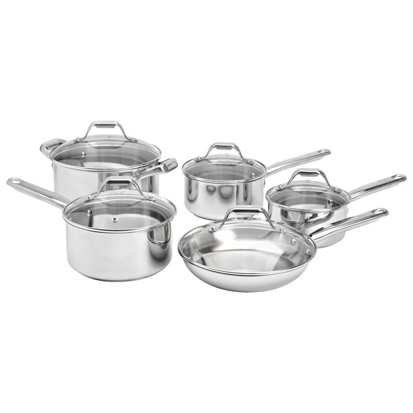 T-FAL C814SA54 10 PCS STAINLESS STEEL COOKWARE- NEW 1 year warranty