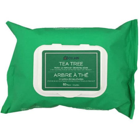 TEA TREE MAKE-UP REMOVER CLEANSING WIPES 60 sheets/Pack, 2 Packs