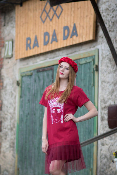 TSHIRT DRESS. RED