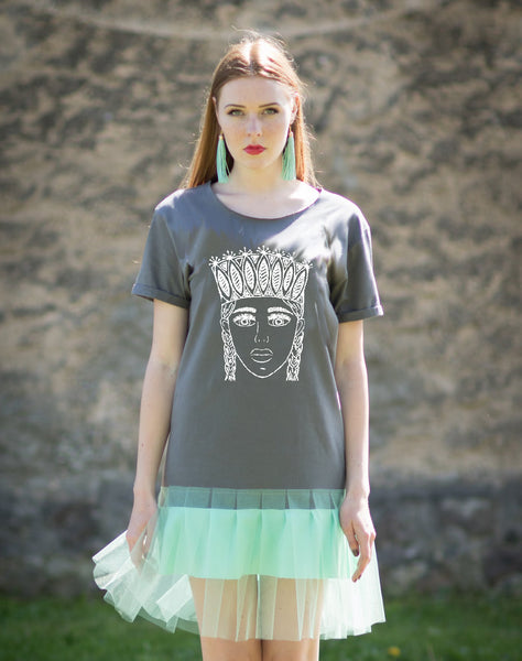 TSHIRT DRESS. GREY & MINT