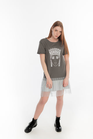 TSHIRT DRESS. Grey