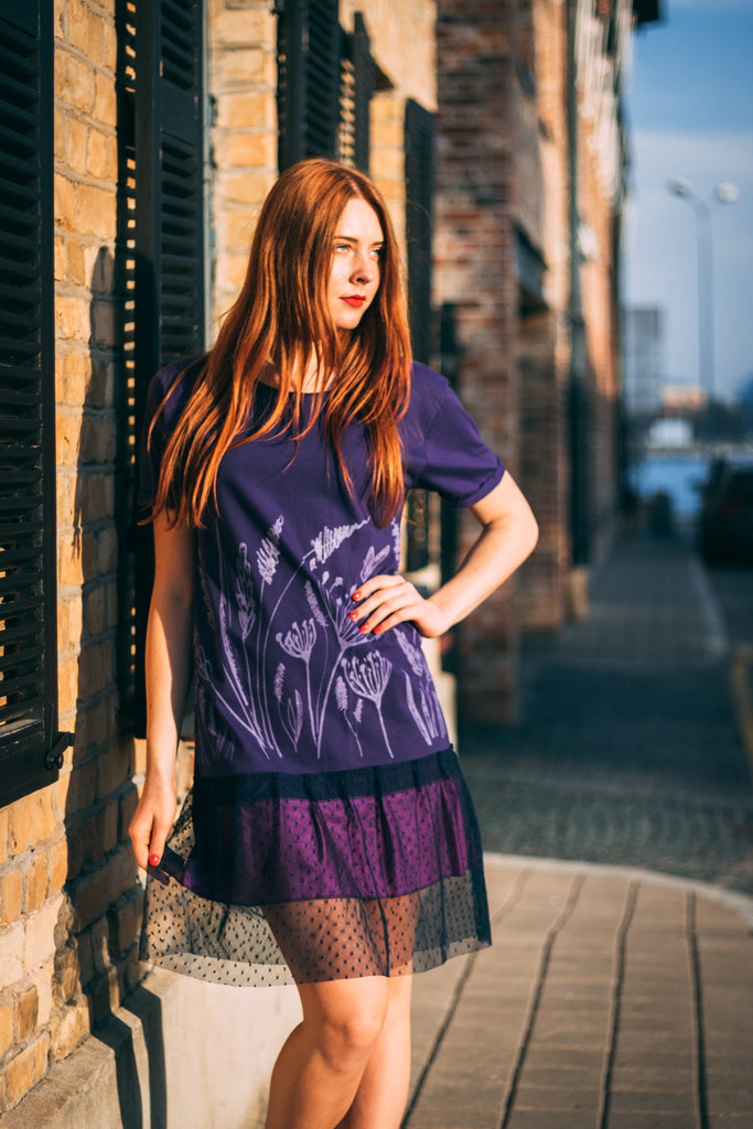 DILL. RUFFLE DRESS. LILAC