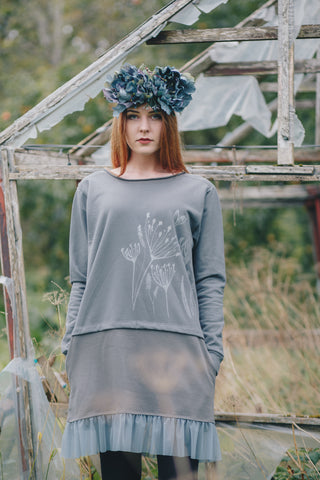 Sweatshirt DRESS. Dilles grey