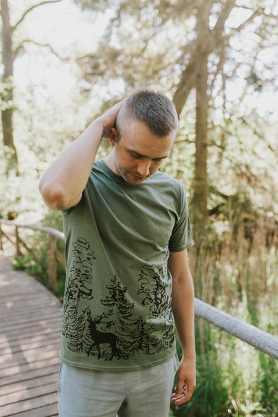 In the WOODS, green T-SHIRT for men